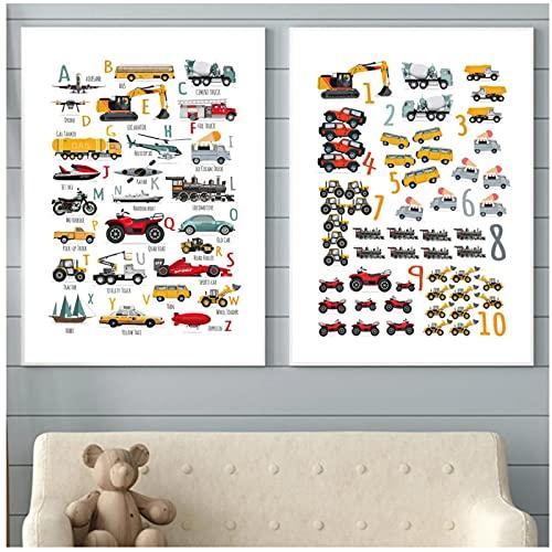 Coche de juguete, scooter, autobús, número, carteles nórdicos e impresiones, lienzo artístico, pintura, alfabeto, cuadros de pared para decoración de habitación de niños, 30x40cmX2PCS sin marco