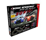 HOBBY ENGINE Sonic Speedway Sports Car Showdown 1:43 Scale Slot Toy Car Race Track Set Includes 2 Hand Controllers, Battery Operated with Headlight