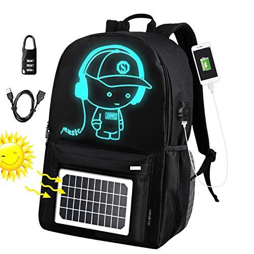 Fanbiya Solar Backpack, Solar Panel Bag Luminous Music Boy Waterproof Anti Theft Day Pack with...