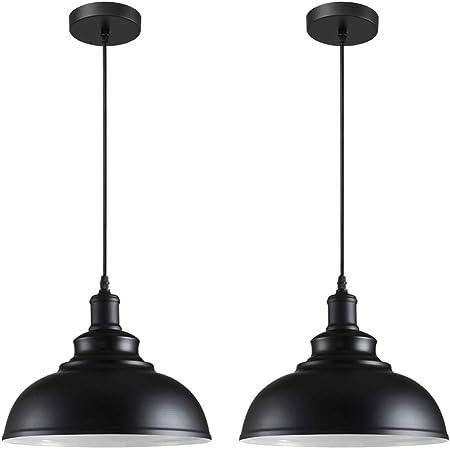 iDEGU Lot de 2 Suspension Luminaire Industrielle Lustre Plafonnier Vintage E27 Rétro Métal Lampe de de Plafond pour Cuisine Salle à Manger Salon Restaurant, Diamètre 29 cm (Noir Blanc)