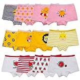 Anktry Kids 12 Pack Soft Comfort Cotton Knickers Underwear Little Girls Assorted Boyshort Panties, Colors-4, 6-8 Years