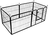 BUNNY BUSINESS Heavy Duty 6 Panel Puppy Play Pen/ Rabbit Enclosure, Small, Gunmetal Grey