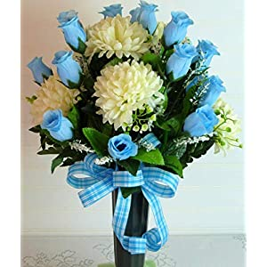Spring Cemetery Vase, Cemetery Flowers with Blue Roses, Cemetery Vase Flowers
