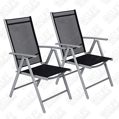 CCLIFE Juego sillas Plegables de Aluminio para jardín, terraza, Patio, Playa,Impermeables y Resistentes al Sol, Color:Light Gray, Tamaño:2pz-Set