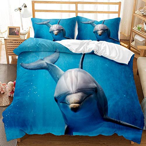 Funda Nórdica Azul Juego De Cama 3D Animal Vida Marina Patrón Funda Edredón?con Cremallera y Funda de Almohada (Cama 90-150×220,Delfín 1)