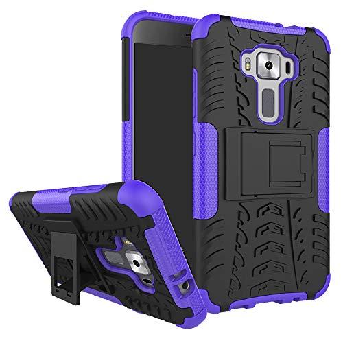 MAMA MOUTH Zenfone 3 5.2 ZE520KL Funda, Heavy Duty Silicona híbrida con Soporte Cáscara de Cubierta Protectora de Doble Capa Funda Caso para ASUS Zenfone 3 5.2 ZE520KL Smartphone 2016,Púrpura