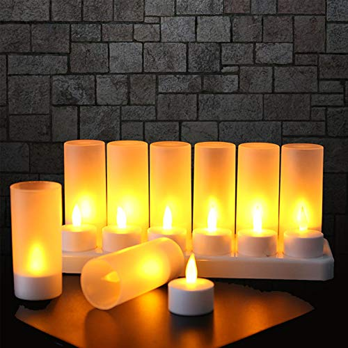 EXTSUD Rechargeable Flameless Candle, 12 Pcs Warm White LED Flickering Tea Lights and 12 Frosted Cups, Comes with Charging Base, No Battery Needed