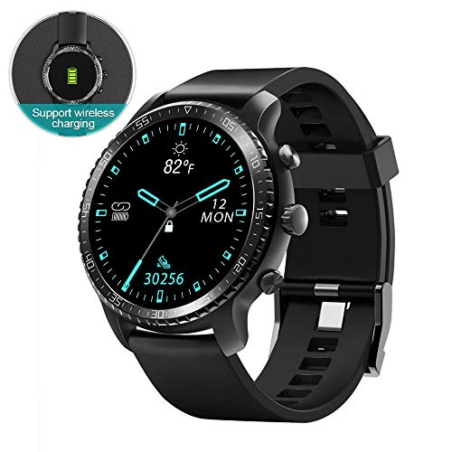 Tinwoo Smart Watch for Android / iOS Phones, Bluetooth Health Tracker with Heart Rate Monitor, GPS Digital Smartwatch for Women Men, Support Wireless Charging ,5ATM Waterproof (TPU Band Black)