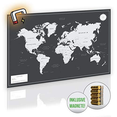 VACENTURES MAGNETISCHE Pinnwand Weltkarte XXL 2X 15 magnetische Pins I Markiere Deine Reiseziele I Sammel Fotos und Magnete I DIN A0 Magnet Poster World map I Edle Wanddekoration in schwarz/weiß/grau