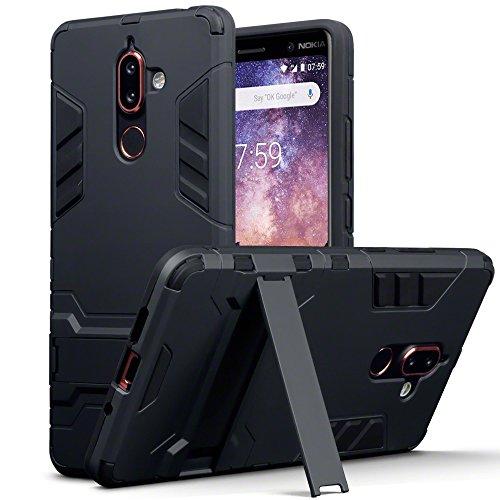TERRAPIN Cover Nokia 7 Plus, Silicone e Cover di Policarbonato Rigida con Funzione di Appoggio per Nokia 7 Plus Custodia, Colore: Nero