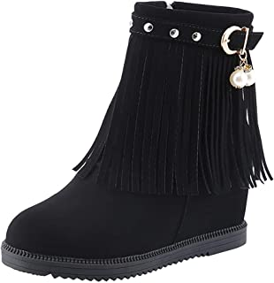 2019 New Shoes for Women,Women's Ladies Wedge Heel Tassel Shoes Fashion Pearl Casual Boots