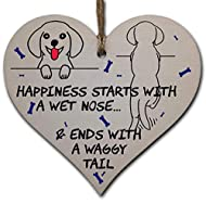 Handmade Wooden Hanging Heart Plaque Gift Perfect for Dog Lovers Pet Keepsake Novelty Decoration