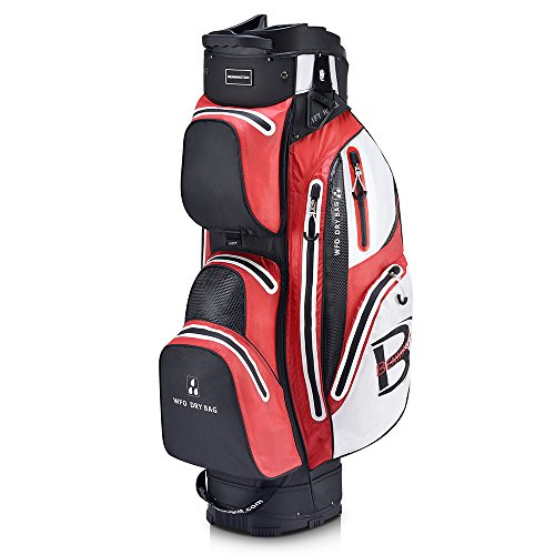 Bennington WFO Waterproof Golf Cartbag - Drybag - 100% Wasserdicht (Schwarz/Rot/Weiß)