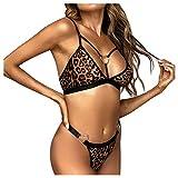 WUSIKY Valentine Neue Damen Dessous-Sets Sexy Frauen Leopard Herz Ring BH Pyjamas Unterwäsche Set