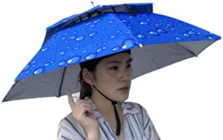 Umbrella Hat, Sttech1 Novelty Double Layer Sun Hat Golf Fishing Camping Fancy Dress Folding Headwear Waterproof Elastic for Fishing Gardening (Blue)