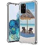 guchaolu Compatible con Samsung Galaxy S20+ modelo de funda para teléfono con mar, tumbonas de madera frente al océano oriental bajo un paraguas de paja en