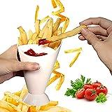LKDEPO Estante de patatas fritas para coche, utilizado para patatas fritas y tiras de verduras, taza 2 en 1 de papas fritas fritas, salsa, juego de inmersión con soporte para taza de salsa.