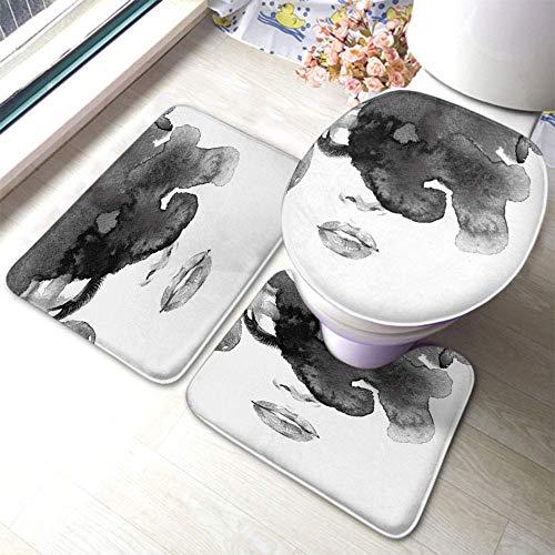 xinping Alfombrilla de baño con mariposas y orquídeas Watercolo Drawing - Juego de 3 alfombrillas de baño con tapa de inodoro