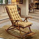 SCJ Cojines para sillas mecedoras, Cojines para sillones, Espesar alargar, Plegables, Cojines de Mimbre para sillas, cojín de Banco con Mullido para Patio, Color Crema, 19 x 49 Pulgadas