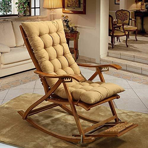 JSMY Cojines para sillas mecedoras,Cojines para sillones Espesar Alargar Cojines para sillas de Mimbre Plegables Cojín para Banco con Mullido para Patio,Color Crema,19 x 49 Pulgadas