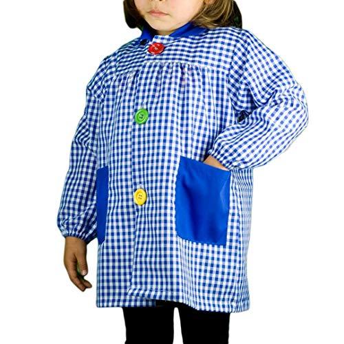 KLOTTZ 901B - Babi cuadros guardería Bata escolar con botones y amplio colorido. Protección ropa en comedores y manulidades en casa. Niñas color: AZUL talla: 4