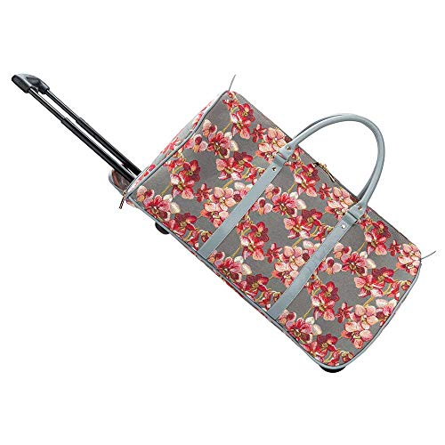 Signare Tapestry Travel Bag Overnight Bags Weekend Bag with Wheel for Women with Garden Flower and Creatures (Orchids, Pull-ORC)