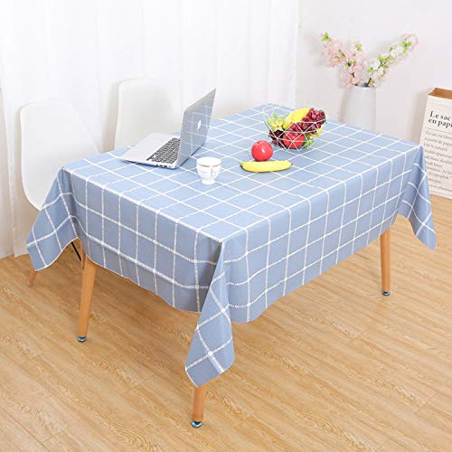 YOUYUANF Tablecloth rectangular linen disposable Rectangular tablecloth 100% polyester fiber soft washable rectangular tablecloth, solid color table cover for buffet tableBlue plaid 137x137cm