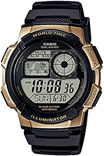 CASIO DIGITAL WATCH TEN YEAR BATTERY WITH WORLD TIME AE-1000W-1A3