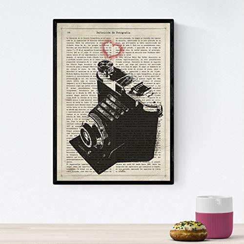 Nacnic Poster de Camara Agfa Corazon. Láminas de cámaras de Fotos Antiguas. Decoración de fotografía. Tamaño A4 con Marco