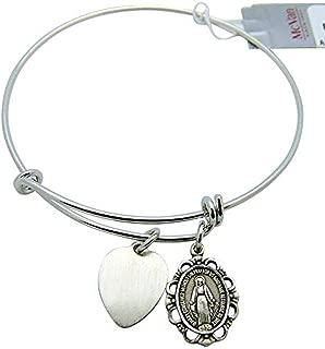 Patron Saint Bangle Bracelet Medal Pewter Adult 2 3/4