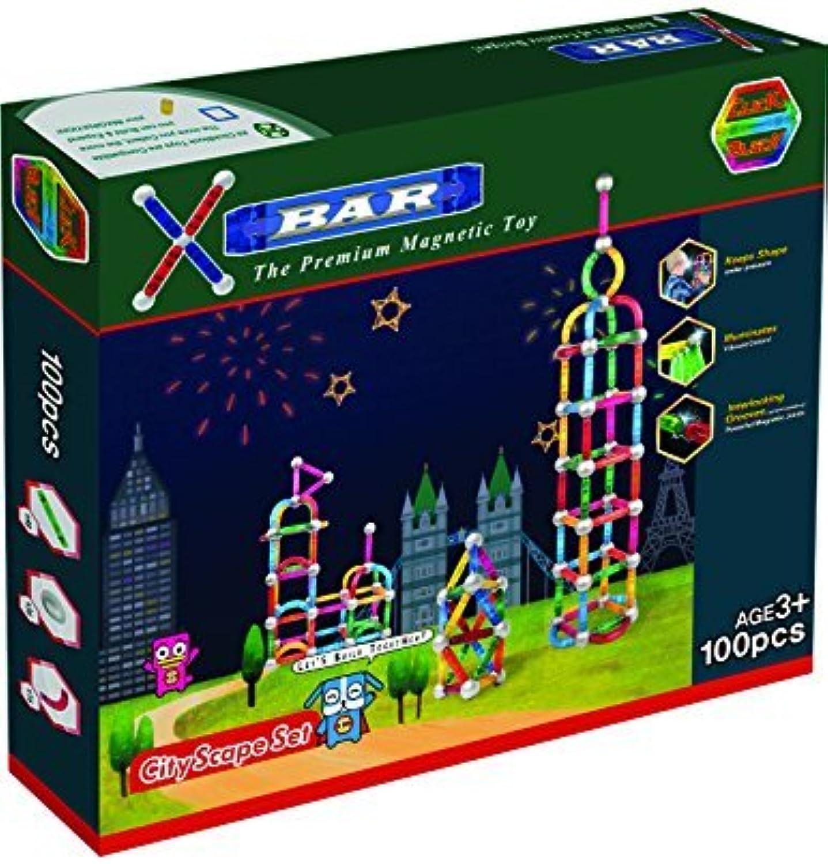 X-Bar Premium Magnetic Construction Toy-100 Piece City Scape Set by ClickBlock