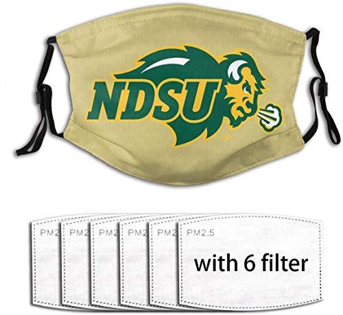 UUUUK NDSU Bison - Protector bucal, bandana para exterior, resistente al polvo, pasamontañas, manguito para cuello With6 Filtro, talla única