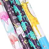 Geschenkpapier, Packpapier mit niedlichen Comics, buntes Geschenkpapier - Einhorn, Dinosaurier, Flamingo, Tierzoo (70 x 50 cm)