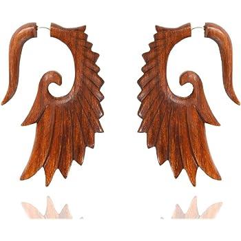 Ethnic Arts India Tibetan Brown Wooden Tribal Carving Design Wood Earring Jewel WER093