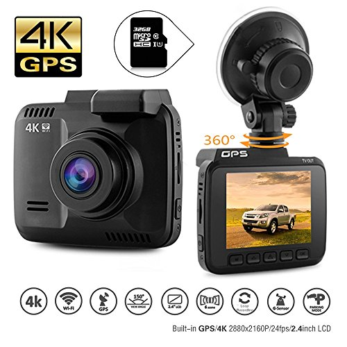 Dash Cam Car DVR Dashboard Camera Recorder with 4K FHD, Built-in WiFi & GPS, APP Support, G-Sensor,...