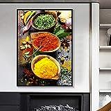 Caweilen Polvo de Chile en Polvo de Curry y cebollas de Primavera Lienzo Pintura condimento Cuadros ...