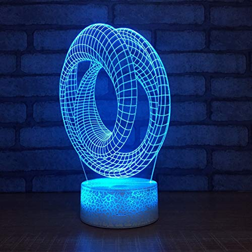 KangYD Cross Double Loop 3D Night Light, LED Optical Illusion Lamp, F - Bluetooth Audio Base(5 Color), Home Decor, Acrylic, Gift for Girl, Desk Lamp, Bar Decor