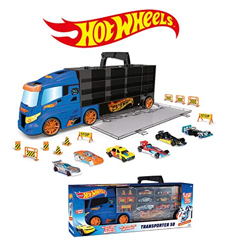 ODS- Transporter 50 Hot Wheels Camion Valigetta Bisarca con Auto HW e Accessori, Colore Blu, 42034