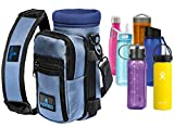 Water Bottle Holder Carrier - Bottle Cooler w/Adjustable Shoulder Strap and Front Pockets - Suitable for 16 oz to 25oz Bottles - Carry Protect & Insulate Your Thermos or Hydro Flask (Light Blue)