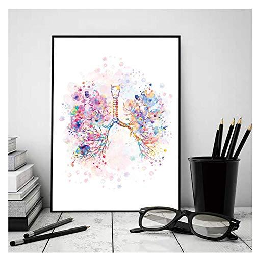 GIRDSS Corazón Humano Pulmones Cartel Órgano médico Anatomía Impresiones de la Pared Pintura artística Carteles Antiguos Cuadros de pared-50X70cm sin Marco