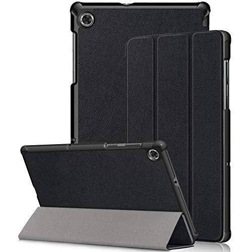 Kemocy Funda para Lenovo Tab M10 HD (2ª generación) TB-X306X/TB-X306F, protección de piel sintética con función soporte Smart Case Cover para Lenovo Tab M10 HD (2ª generación) 10,1 pulgadas, A-negro