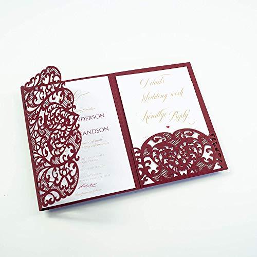 Lasergeschnittene + Kuvert Hochzeit ursprüngliche weinfarbene Einladung Einladungskarten (Probe 1 Stück) - mit Purpur Spitze - Hochzeitskarten - Vorgedrucktes Sample!