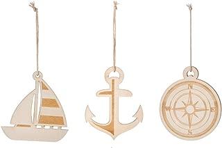 Wood Nautical Christmas Tree Ornaments, Set of 3, Anchor Compass Sail Boat