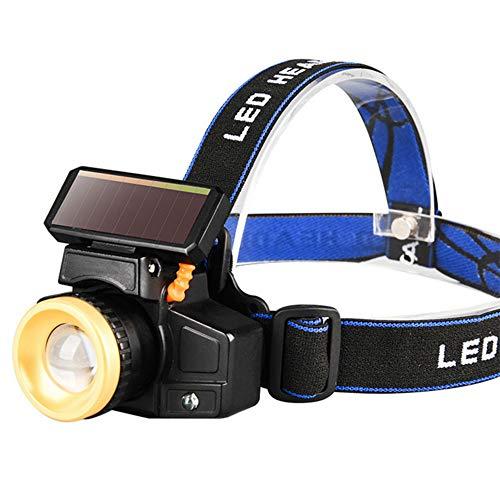 Linterna Frontal Faro portátil Led de emergencia de camping con alimentación solar con cinturón al aire libre deporte impermeable sensor de movimiento de pesca de alto brillo
