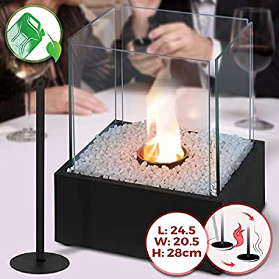 Tabletop Bio-Ethanol Fireplace - 24.50 x20.50 x 28 cm, Stainless Steel Body, 4 Heat Resistant Glass Panels, Single Burner, with Extinguishing Tool & Decorative Stones - Portable Fire Pit