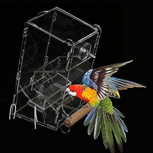 1個 鳥用フードフィーダー 自動食品フィーダ シードフードフィーダー 餌入れ箱 自動餌与え 仕事/外出のため 透明容器 DIY アクリル材料 アクリルペット 無毒 衛生(ミドル)