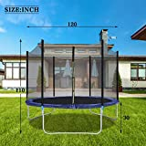 14 12 10FT Trampoline for Kids - Outdoor Backyard Trampoline with Safety Enclosure Net Bounding Bed Spring Pad, Exercise Gym Fitness Trampoline Sports power Trampoline Round Jumping Table Equipment