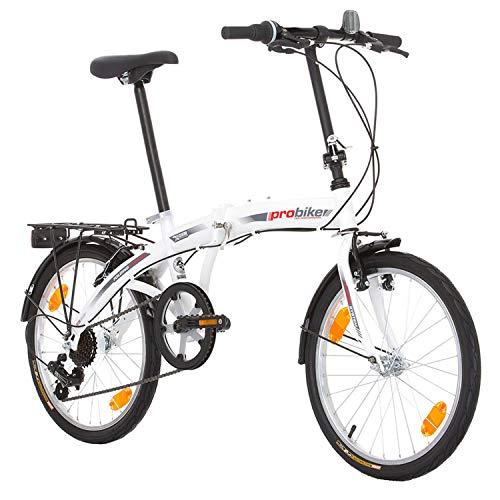 Multibrand Distribution PROBIKE Folding 20 Zoll Klapprad Faltrad Shimano 6 Gang, Herren Jungen, Mädchen - Fahrrad Weiß geeignet 155-185 cm