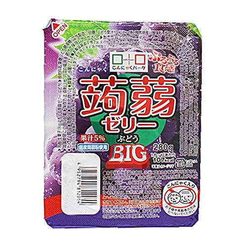 こんにゃくゼリー ヨコオデイリーフーズ ぷるぷる食感蒟蒻ゼリーBIG ぶどう 280g 36個入 1箱