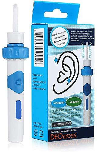 ANKM Ohrenreiniger, Ohrwachsentferner, Ear Wax Cleaner, Elektrischer Ohrreiniger, Ohr Schmalz Reiniger mit 2 Entfernbaren Silikon Aufsatzen für Kleinkinder, Tool Geeignet Für Kinder und Familie (1)